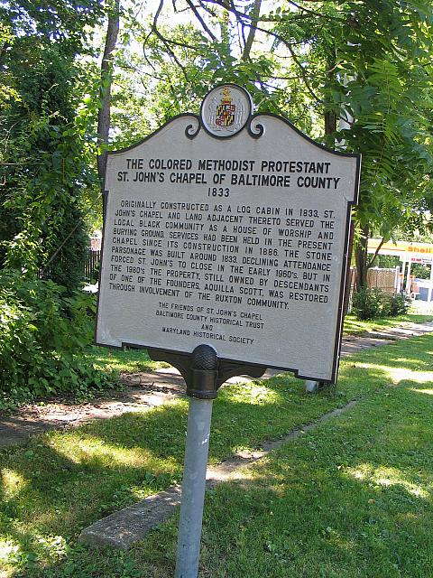 MD-027 The Colored Methodist Protestant St. Johns Chapel of Baltimore County 1833