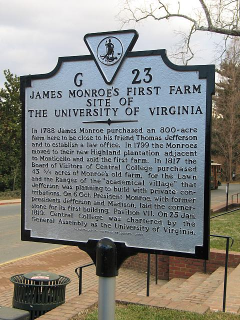 VA-G23 James Monroes First Farm Site of The University of Virginia