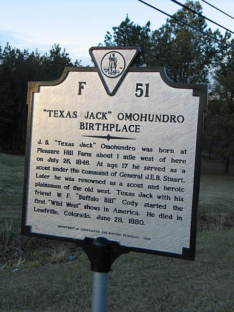 VA-F51 Texas Jack Omohundro Birthplace