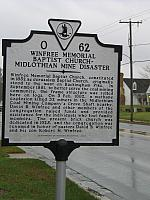 VA-O62 Winfree Memorial Baptist Church - Midlothian Mine Disaster